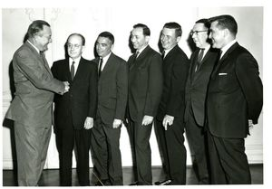 Dean Frederick McDermott (Law) and others at Suffolk University's Law Day, 1962