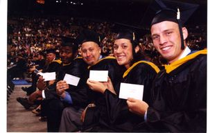 Graduate students at the 2002 Suffolk University commencement