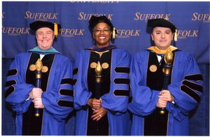 Library Director Robert E. Dugan and other marshals at the 2007 Suffolk University commencement