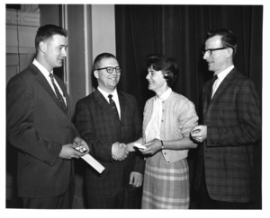 John Colburn with Gary McMollin and Russell Howland at Suffolk University's Recognition Day, 1962