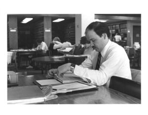 A Suffolk University Law School student studies in Pallot Law Library