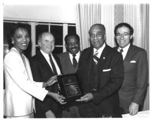Attendees at Suffolk University Law School's Black American Law Students Association (BALSA) dinner, 1985