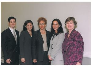Suffolk University Professor Valerie Epps (Law) and other organizers of the 1999 Donahue Lecture