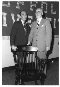 Suffolk University Professor Donald Unger (CAS) with President Thomas A. Fulham (1970-1979) at the 1978 Dean's Reception
