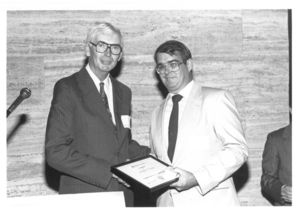 Administrators Francis X. Flannery with Michael Dwyer at Suffolk University's Dean's Reception 1989