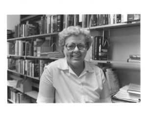 Suffolk University Law Librarian Patricia I. Brown in the Law Library
