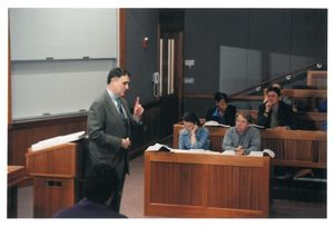 Suffolk University Professor William Corbett (Law) lecturing in a law school classroom