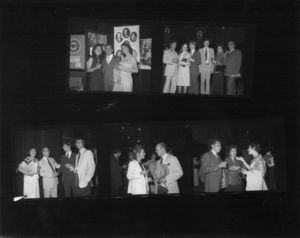 Contact sheet of group photographs at Suffolk University's 1979 Alumni Night at the Pops