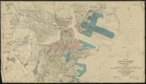Map of Boston Proper. Charlestown, South Boston and East Boston Showing Original Territory of Old Boston, the Areas Filled and Reclaimed from Tide Water and the Areas Available for Future Reclamation in Connection with the Disposition and Development of a Plan of the Inner Harbor of the Port of Boston