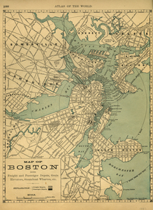 Map of Boston Showing Freight and Passenger Depots, Grain Elevators, Steamboat Wharves, etc.