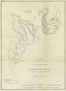 Comparative Sketch of the Handkerchief Shoal Entrance to Nantucket Sound, Mass. Showing its Increase