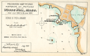 Progress Map for 1895, Harbor of Refuge Woods Holl, Mass.: from 1. July 1894 to 30. June 1895