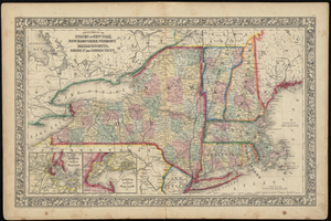 County Map of the States of New York, New Hampshire, Vermont, Massachusetts, Rhode Island, and Connecticut.