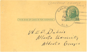 Letter from Calhoun Colored School to W. E. B. Du Bois