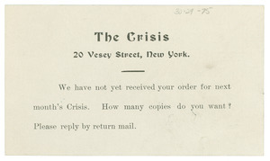 Postcard from Crisis to unidentified correspondent