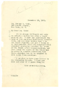 Letter from W. E. B. Du Bois to George H. Cady