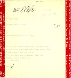 Telegram from Carol and Lawrence A. Hautz to Shirley Graham Du Bois
