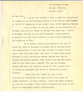 Letter from Benjamin A. Grant to W. E. B. Du Bois