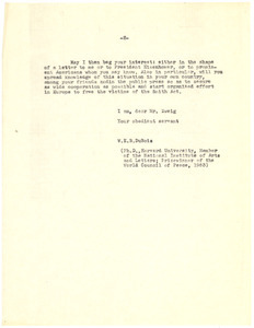 Letter from W. E. B. Du Bois to Arnold Zweig