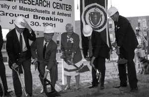 Ceremonial groundbreaking for the Conte Center: Gov. William Weld and Corrine Conte (both at center) tossing the first shovel of dirt