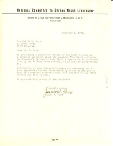 Letter from National Committee to Defend Negro Leadership to W. E. B. Du Bois