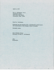 Letter from Judy Chilcote to Ray A. VanOmmen