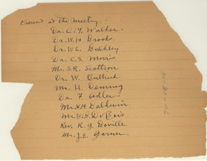 Notes of attendance for the meeting of person interested in the welfare of the Negroes of New York City
