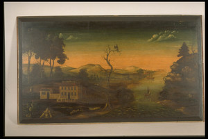 Overmantel-Landscape with Harbor Scene