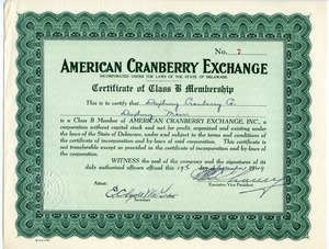 Certificate of class B membership, American Cranberry Exchange, for the Duxbury Cranberry Company