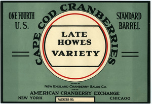 Cape Cod Cranberries : Late Howes variety