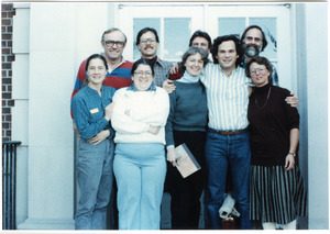 Organic Farmers Associations Council meeting: group posed by a doorway