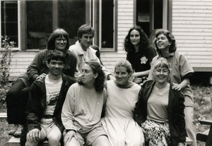 Group posed in front of house, with Grace Gershuny (top left)