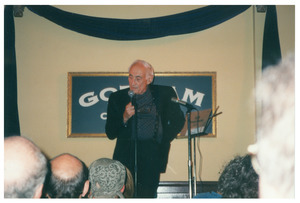Sidney Lipshires performing stand up at Gotham City Night Club
