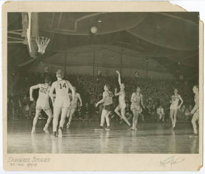 John Donohue hook shot against American International College, March 4, 1949