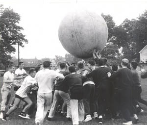 Students Playing Cage Ball