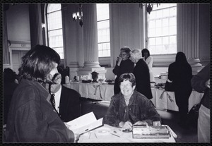 Newton Free Library, Newton, MA. Communications & Programs Office. Antiques Appraisal Day, War Memorial Auditorium: Joan Harrington, Chamber of Commerce members