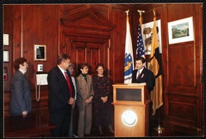Massachusetts Board Library Commisioners Award presentation, K. Glick-Weil, Mayor Cohen and trustees