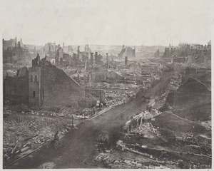 View of Boston in ruins, most likely after the Great Fire of 1872