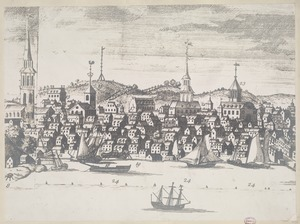 Detail from a south east view of ye great town of Boston in New England in America