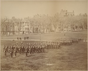 Boston Common along Beacon, prob. Boston School Regiments