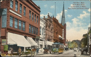 Fall River, Mass. North Main Street, Conservatory of Music, Bijou Theatre and Brown's Block