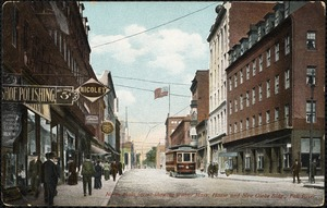 North Main Street showing Wilbur Mass. house and new Globe Bldg., Fall River