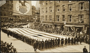 The Elks and there flag 90 by 30 ft passing by the City Hall, Apr 19, 1917