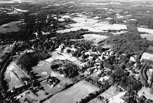Aerial view of Lancaster Center, looking southwest