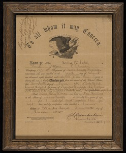 Civil War discharge papers, Henry Sykes 37th Regiment Massachusetts Infantry 2 sided