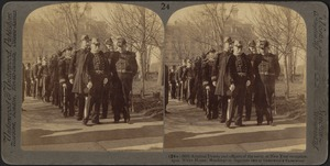 Admiral Dewey and officers of the navy, at New Year reception, 1902. White House, Washington