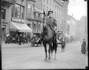 Boston mounted cop on duty on Tremont St.