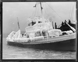 Ice covered boat. US rum chaser Dallas.