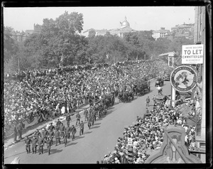 Big parade in Boston - 300th anniversary. Largest crowd in stands to see this historical sight - in front of the Old Herald Building, Tremont St. and Avery.