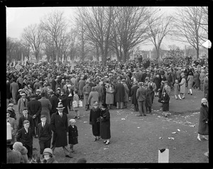 Crowds stream into Holy cross cemetery, Malden, the shrine of New England